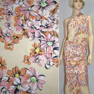 Шовк бежевий з оранжево-рожевими квітами ш.135