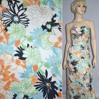 Шовк білий з бірюзово-оранжево-чорними квітами ш.133