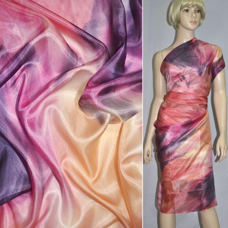Шелк розово-оранжевый с фиолетовым абстрактным рисунком, ш.134