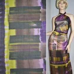 Шелк желто-сиреневый с коричнево-фиолетовыми прямоугольниками, ш.134