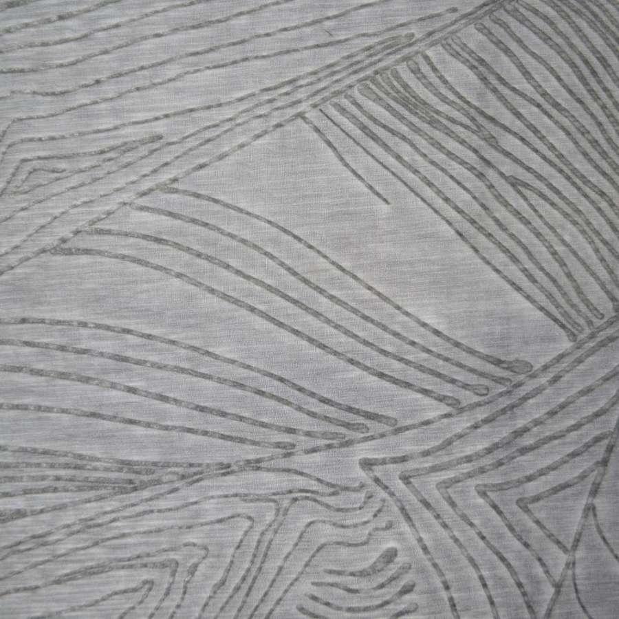 Шелк серый с полосками из флока ш.140