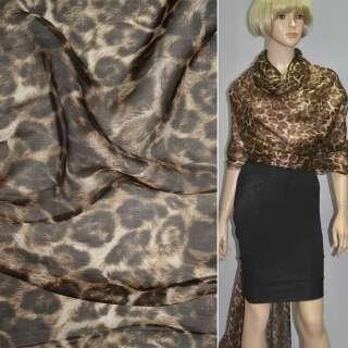 """Шовк коричнево-бежевий """"леопард"""" ш.137"""