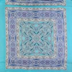 """Шовк бірюзовий світлий з синьо-сірими """"огірками"""" (хустка) ш.135"""