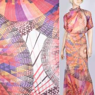 Шовк червоно-фіолетовим + жовтим абстрактний малюнком (принт) ш.140