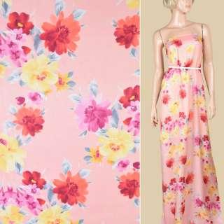 Шовк рожево-персиковий з жовто-червоними квітами ш.135