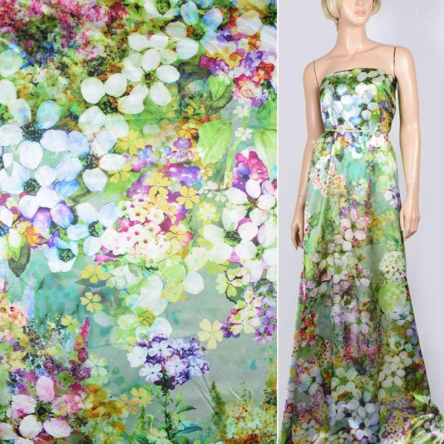 Шелк оливково-серый с разноцветными цветами ш.140