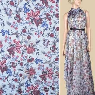 Шовк блакитний з бордовими квітами ш.133
