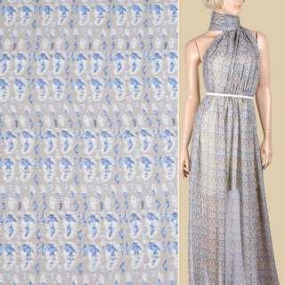 Шовк коричневий світлий з молочно-синьої абстракцією ш.136