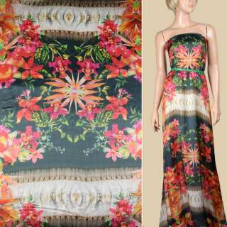 Шелк черный с красно-оранжевыми цветами ш.138