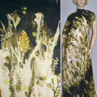 Шовк чорний з жовтими квітами ш.133