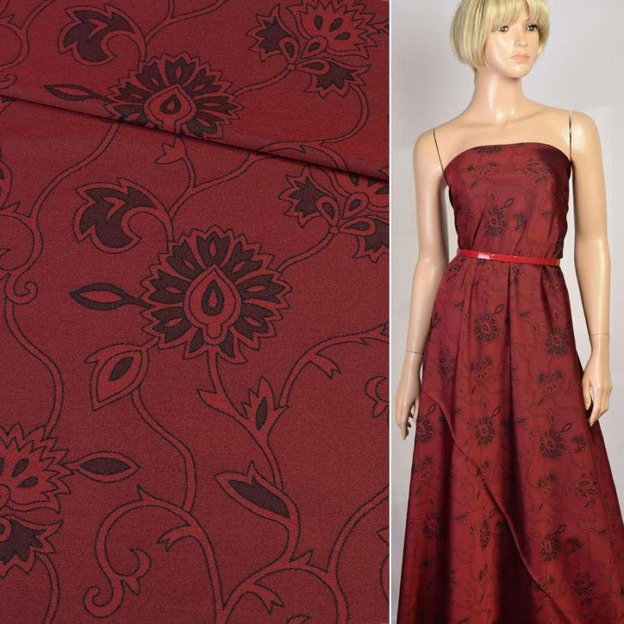 Шелк искусственный жаккардовый бордовый в черные цветы, ш.160