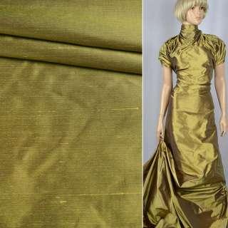 Шелк атласный плотный золотой с фиолетовой изнанкой ш.138