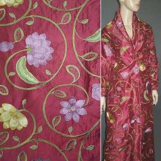 Шовк вишневий з вишитими квітами ш.160