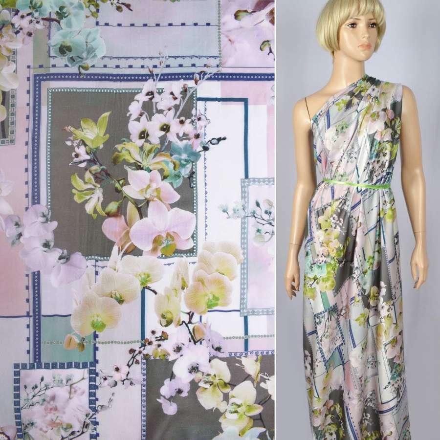 Шелк с вискозой атласный оливково-розовый в квадраты,орхидеи ш.133