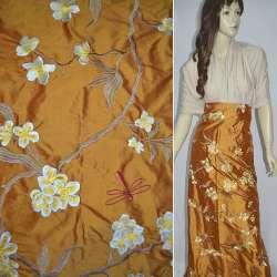 Шелк терракотовый светлый с вышитыми цветами ш.135
