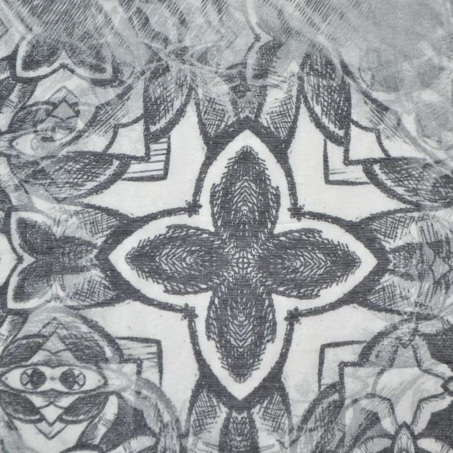 Шовк молочний з чорним абстрактним малюнком ш.140