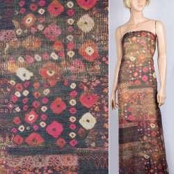 Шелк черный с бежево-бордовыми цветами и геометрическим рисунком ш.137