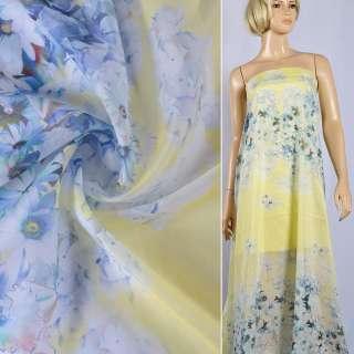 Шовк з бавовною жовтий з блідо-блакитними квітами Німеччина ш.135