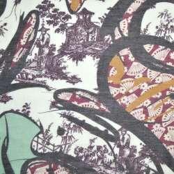 Шелк молочно-бордовый с черной абстракцией ш.137