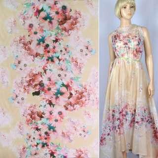 """Батист шовковий """"Apanage"""" блідо-жовтий купон в рожево-блакитні квіти ш.133"""