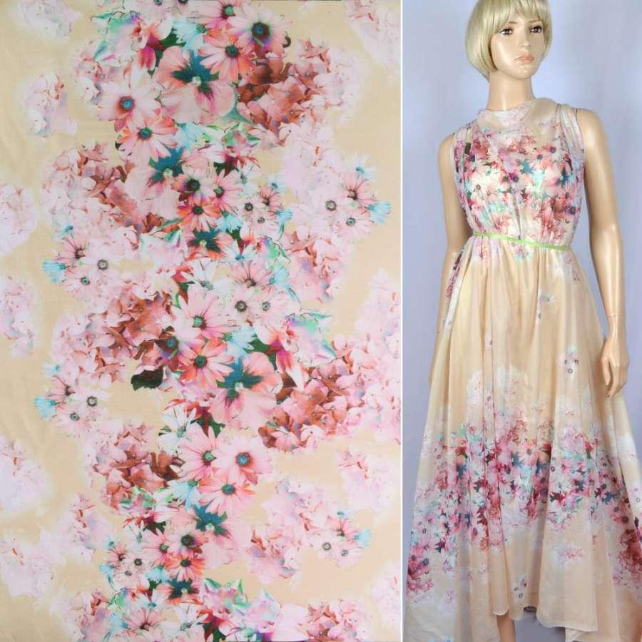 """Батист шелковый """"Apanage""""бледно-желтый купон в розово-голубые цветы ш.133"""