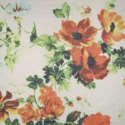 Шовк кремовий з оранжево-коричневими квітами ш.137