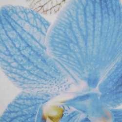 Шовк молочний з синьо-чорну великою квіткою в центрі ш.137