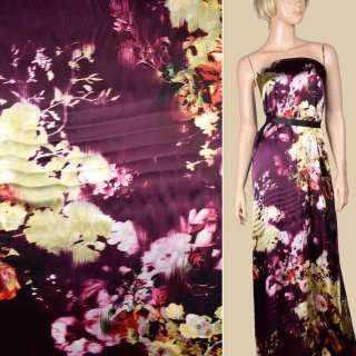 Шелк черно-вишневый с кремовыми цветами ш.134