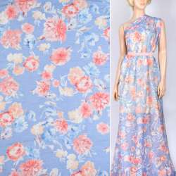Шелк сине-голубой с молочно-персиковыми цветами ш.140