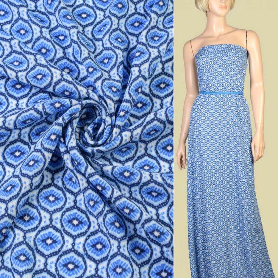 Шелк с вискозой в сине голубые узоры ш.150