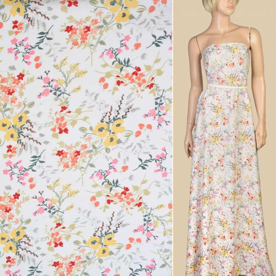 Шелк с вискозой белый в желто-розовые цветы ш.142