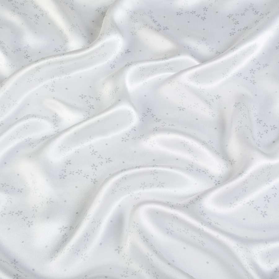 Шелк атласный молочный в серые звездочки ш.136