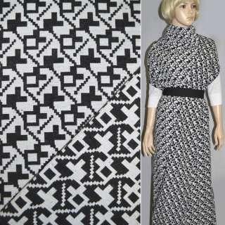 Гобелен білий з чорним геометр. малюнком ш.150