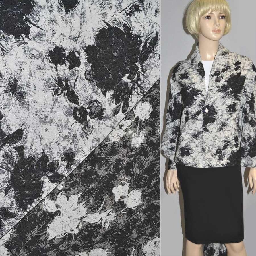 гобелен белый с черными цветами ш.150