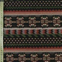 Гобелен черный в коричнево-бежево-зеленый орнамент ш.150