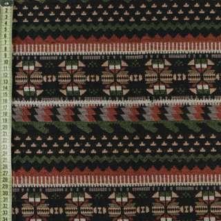 Гобелен чорний в коричнево-бежево-зелений орнамент ш.150