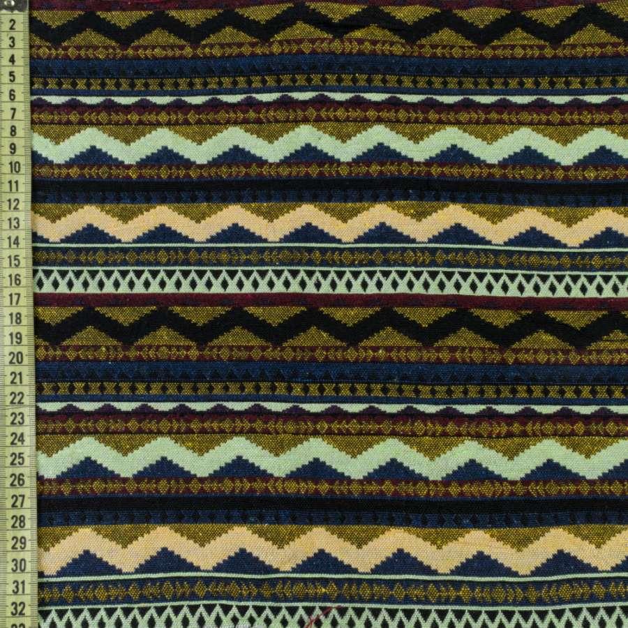 Гобелен в салатово-синие, черно-желтые зигзаги ш.150