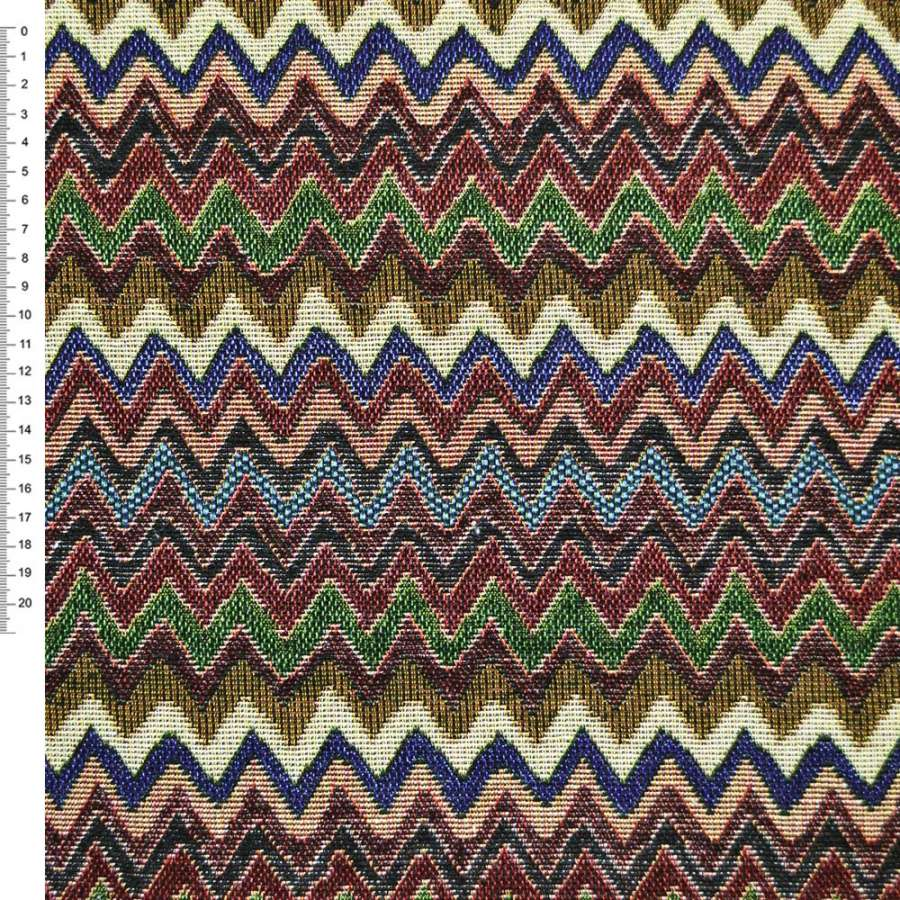 гобелен с разноцвет. зелено-синим+бордово-бежев. зиг-загом ш.153
