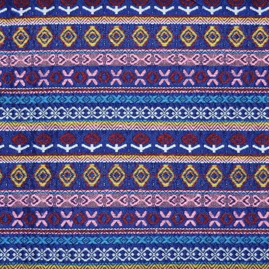 гобелен синий в полоску с желто-розовым орнаментом ш.150