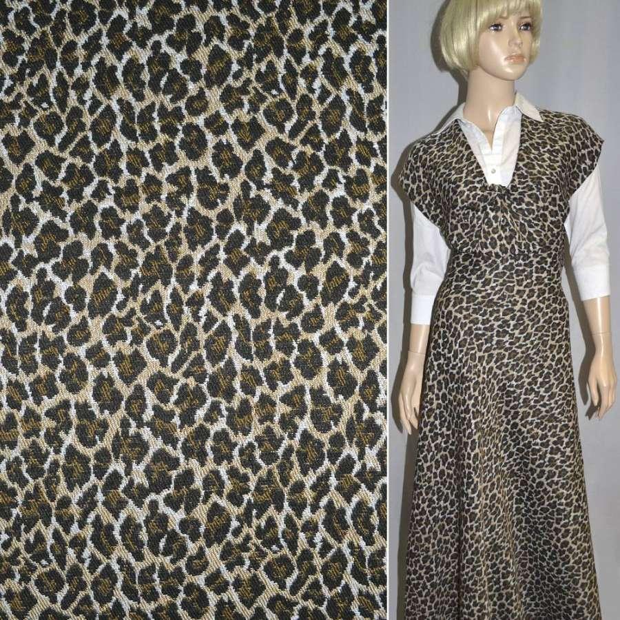 """гобелен бежево-черный """"леопард"""" ш.152"""
