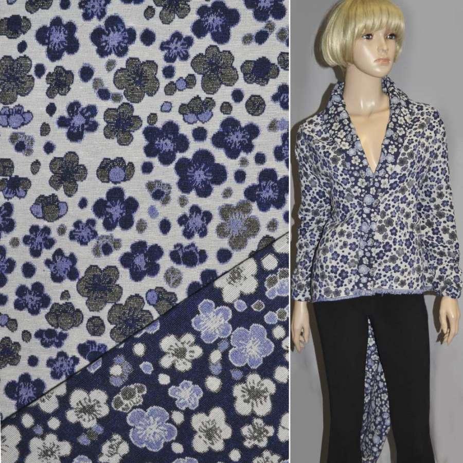 гобелен синий с бело-голубыми цветами ш.155