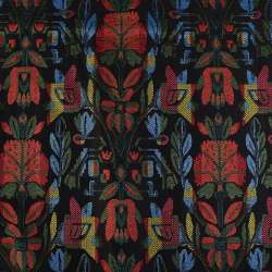 Гобелен черный в красно-желто-зелено-голубые цветы ш.152