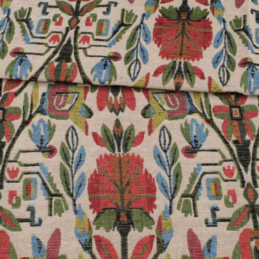 Гобелен молочный в красно-желто-зелено-голубые цветы ш.152