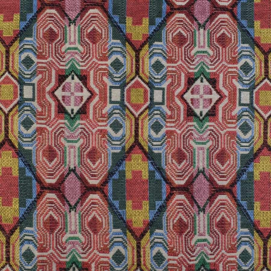 Гобелен в красно-зелено-желтые полосы-узоры ш.150