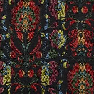 Гобелен черный в красно-желто-зеленые цветы ш.155