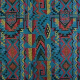 Гобелен бирюзовый темный в красно-желто-зеленый узор ш.153