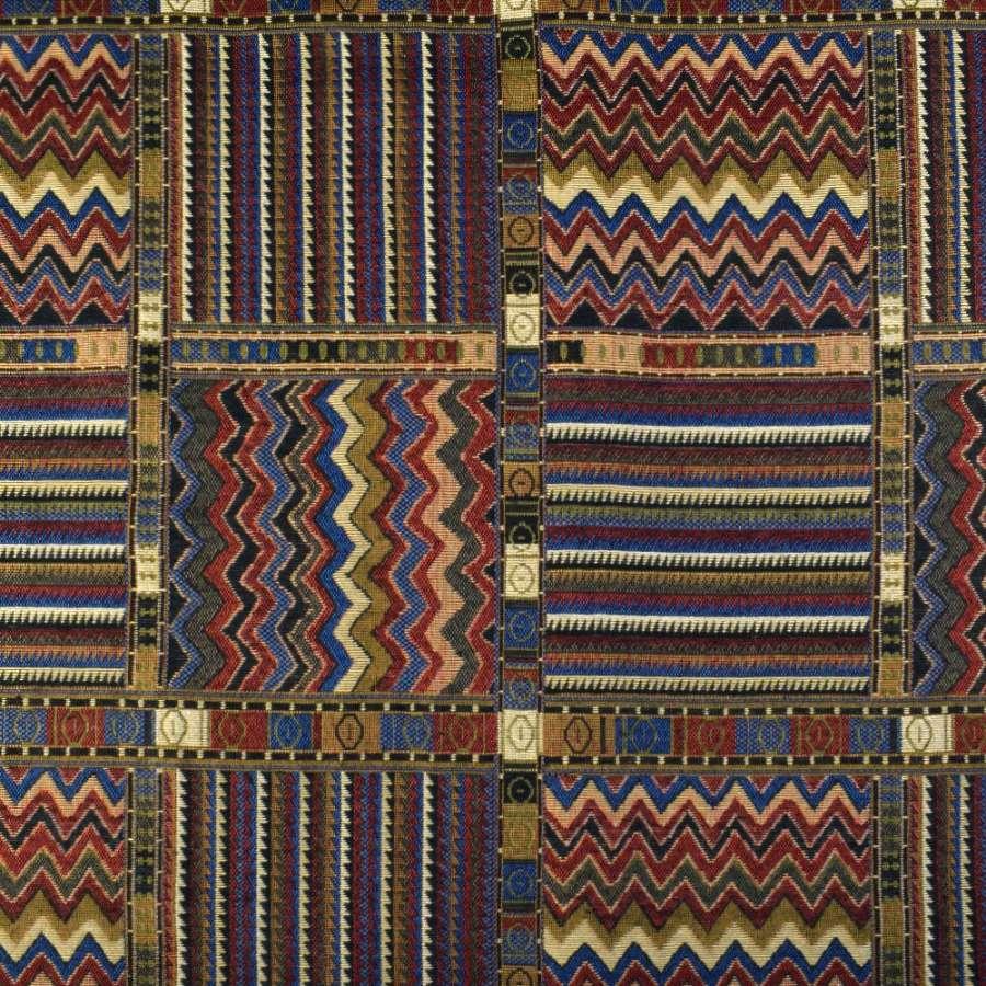 Гобелен коричнево-сине-красный в квадраты с узором ш.150