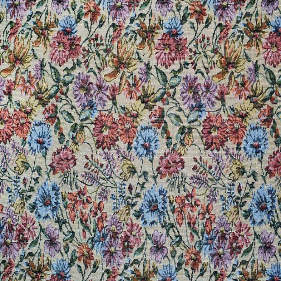 гобелен св/бежевый с бордово-голубыми цветами ш.150