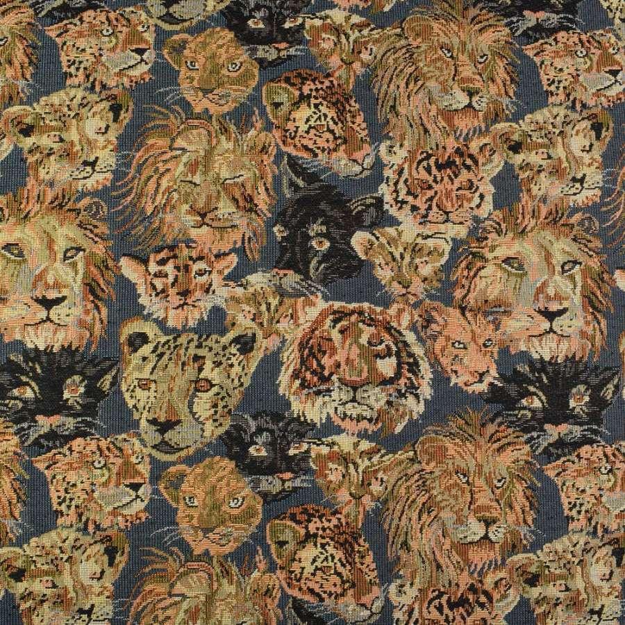 Гобелен синий в львы, леопарды, пантеры ш.145