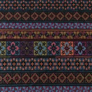 гобелен в коричнево-синие+зеленые полоски с орнаментом ш.151